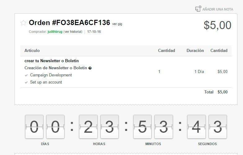 Mi primera orden en Fiverr. $5 por creación y configuración de newsletter.